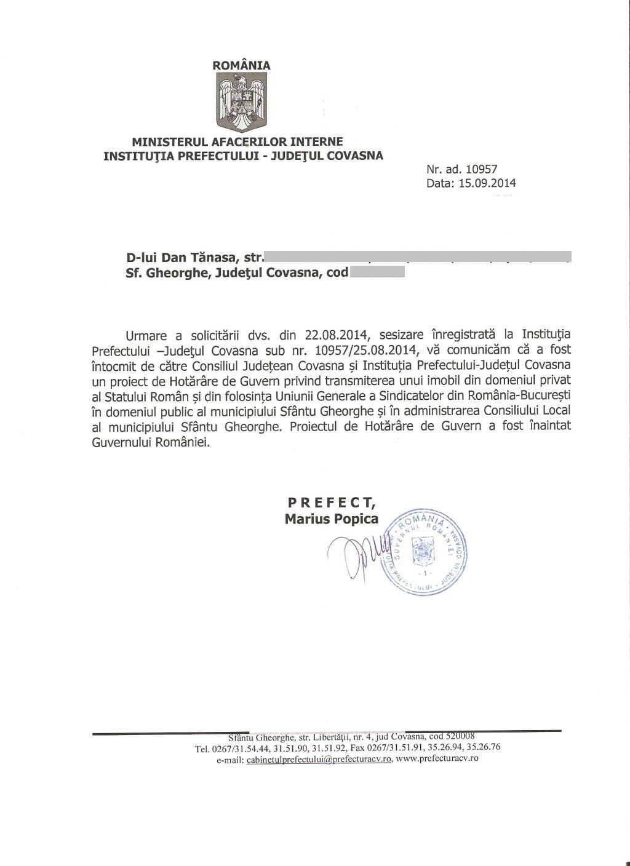 Prefectura Covasna Marius Popica Casa de cultura a sindicatelor Sfantu Gheorghe Dan Tanasa