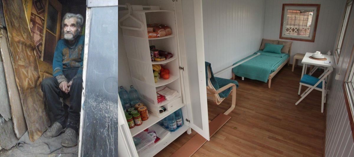 Noiembrie 2014, București. Bătrânul din imagine locuia în condiții inumane. Un grup de tine a decis că lucrurile nu pot continua așa. (FOTO: facebook.com)