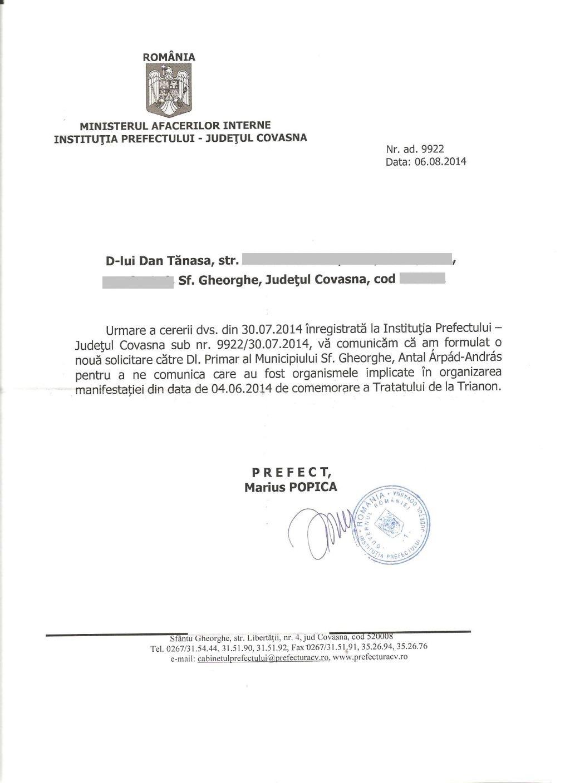 prefect marius popica august 2014 2 comemorare trianon sf gheorghe dan tanasa