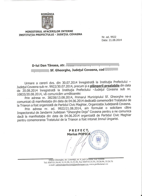 prefect marius popica august 2014 comemorare trianon sf gheorghe dan tanasa