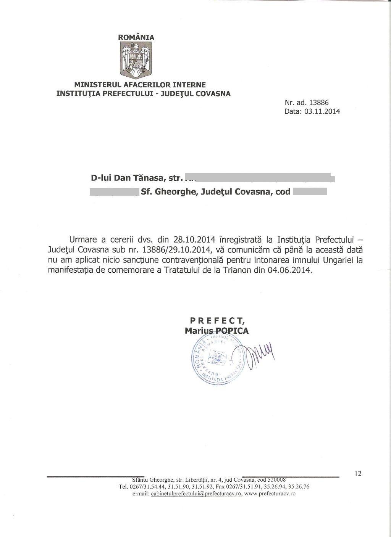 prefect marius popica noiembrie 2014 comemorare trianon sf gheorghe dan tanasa