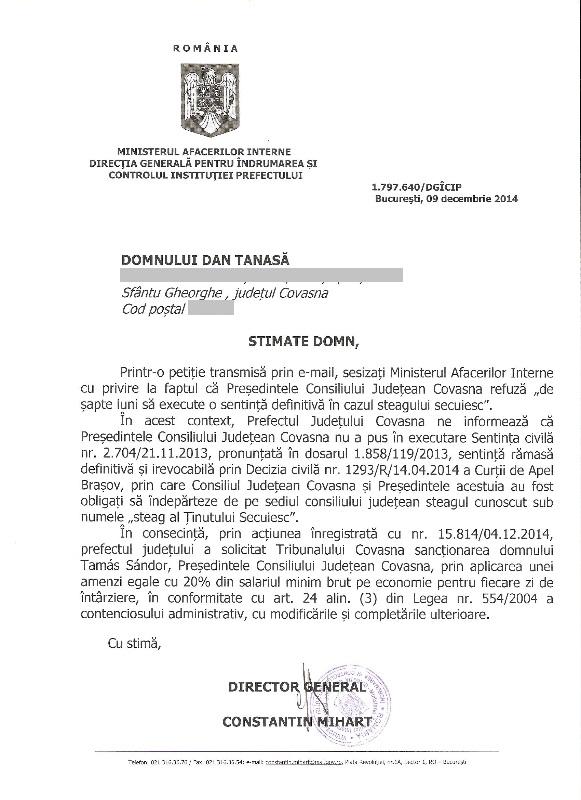MAI CJ Covasna Prefectura Covasna steag secuiesc Dan Tanasa