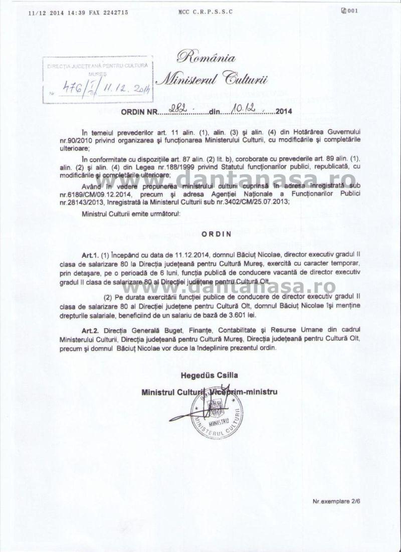 ordin ministrul culturii hegedus csilla detasare nicolae baciut mures olt