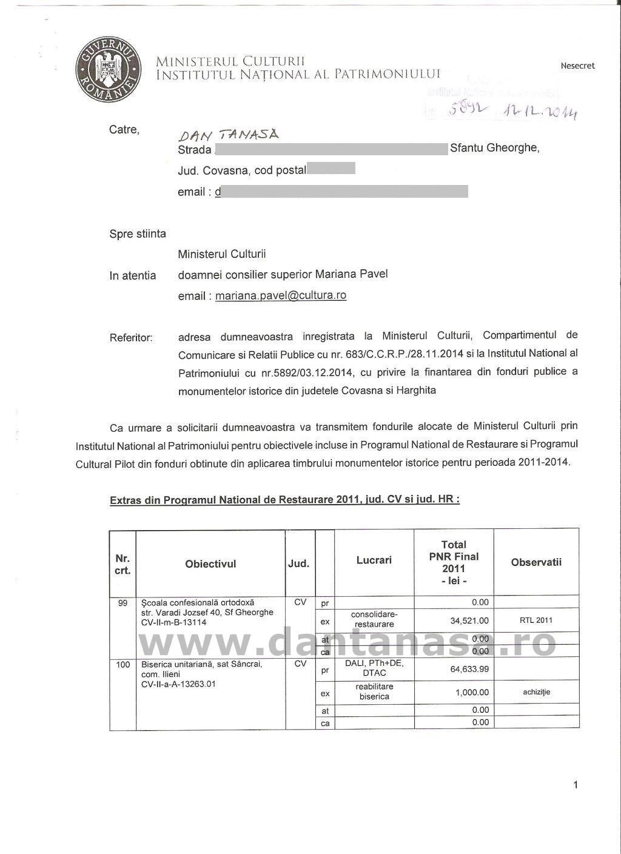 Ministerul Culturii fonduri monumente Covasna Harghita 2011 2014 1