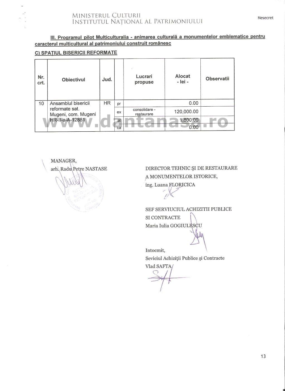 Ministerul Culturii fonduri monumente Covasna Harghita 2011 2014 13