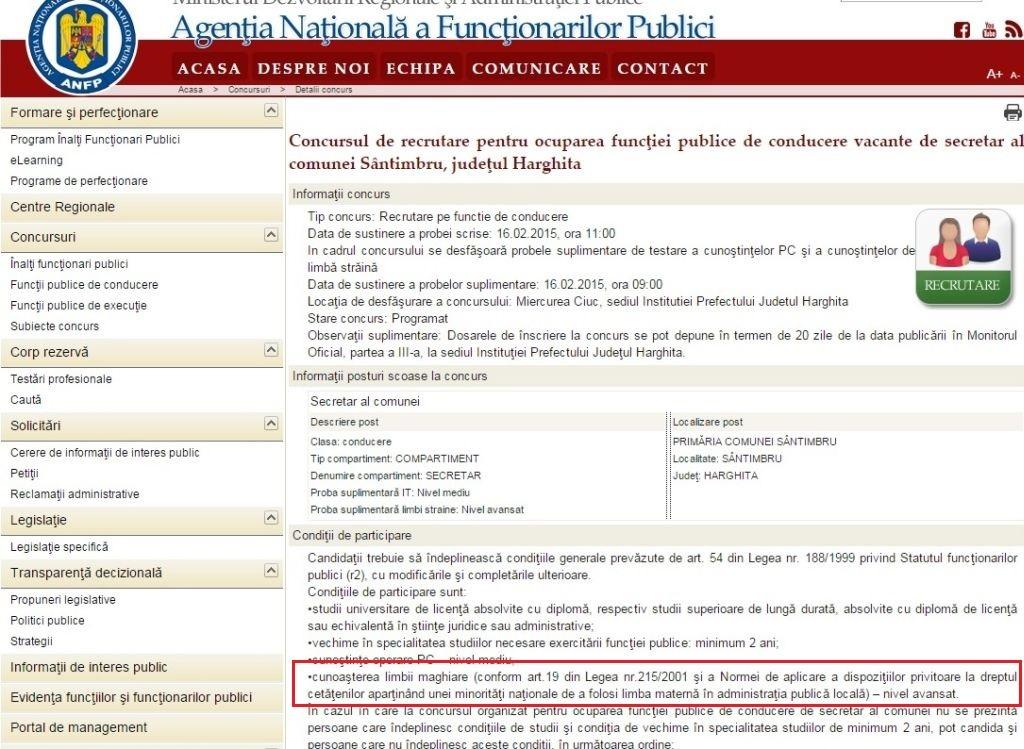 concurs ANFP secretar Santimbru Harghita