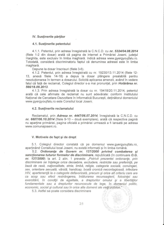 CNCD primar Gall Szabolcs Joseni discriminare romani 2