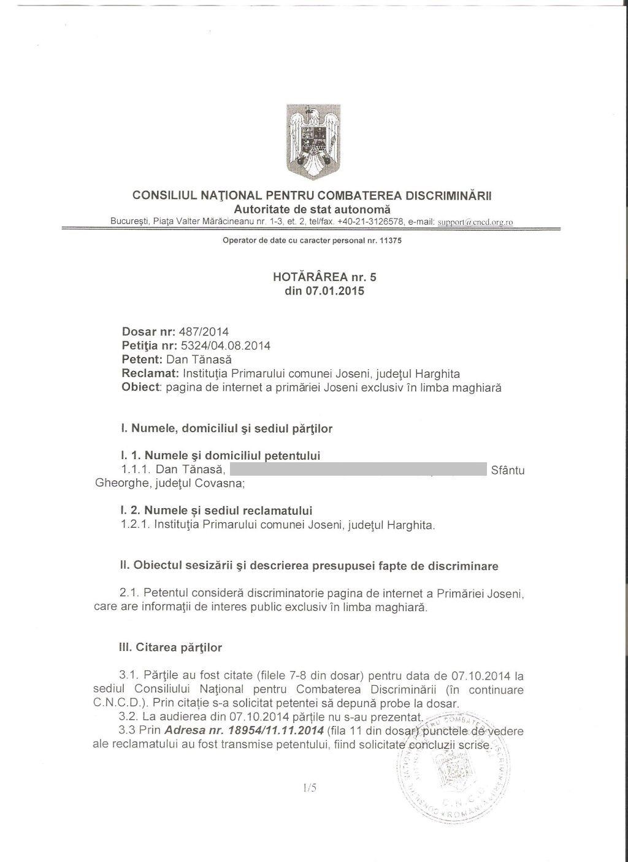 CNCD primar gall szabolcs Joseni discriminare romani 1