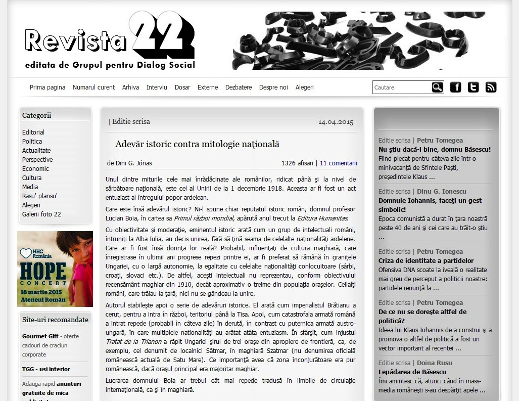 revista 22 susține revizionismul maghiar