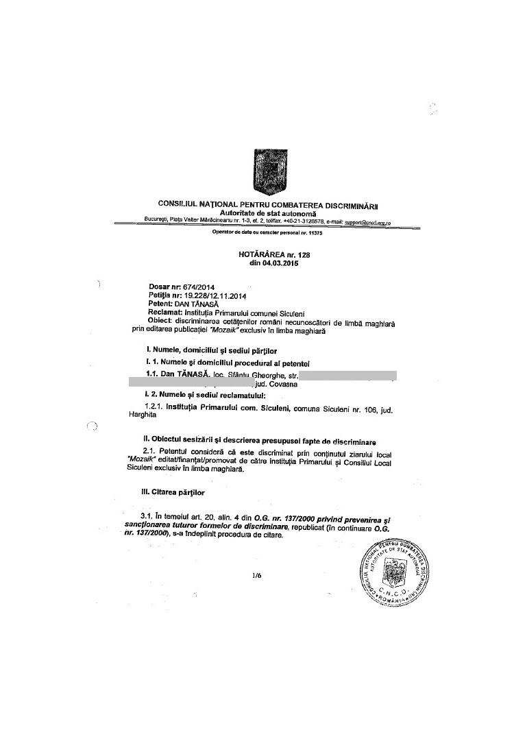 decizie CNCD ziar local siculeni UDMR discriminare romani dan tanasa 1