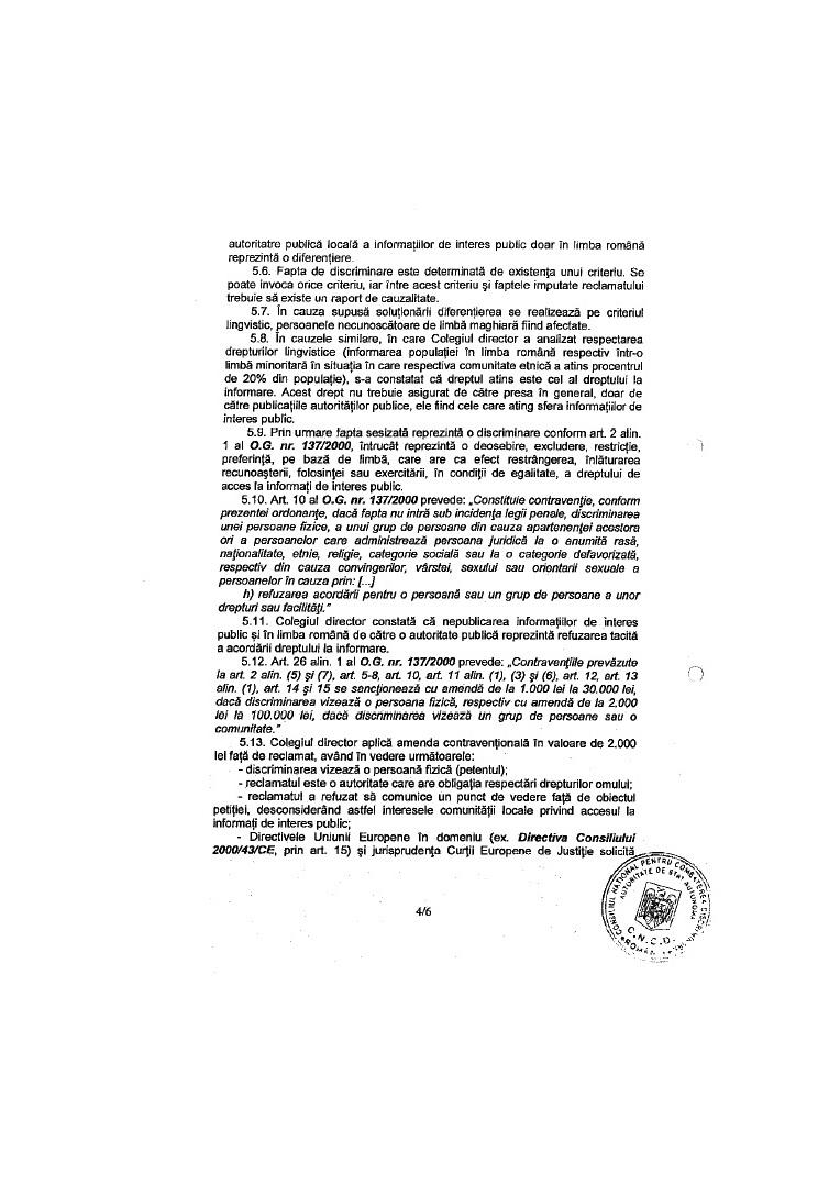 decizie CNCD ziar local siculeni UDMR discriminare romani dan tanasa 4