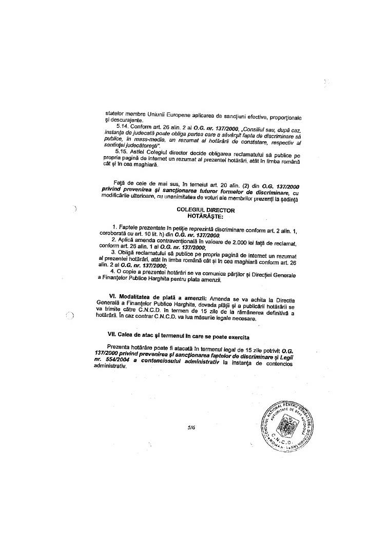 decizie CNCD ziar local siculeni UDMR discriminare romani dan tanasa 5