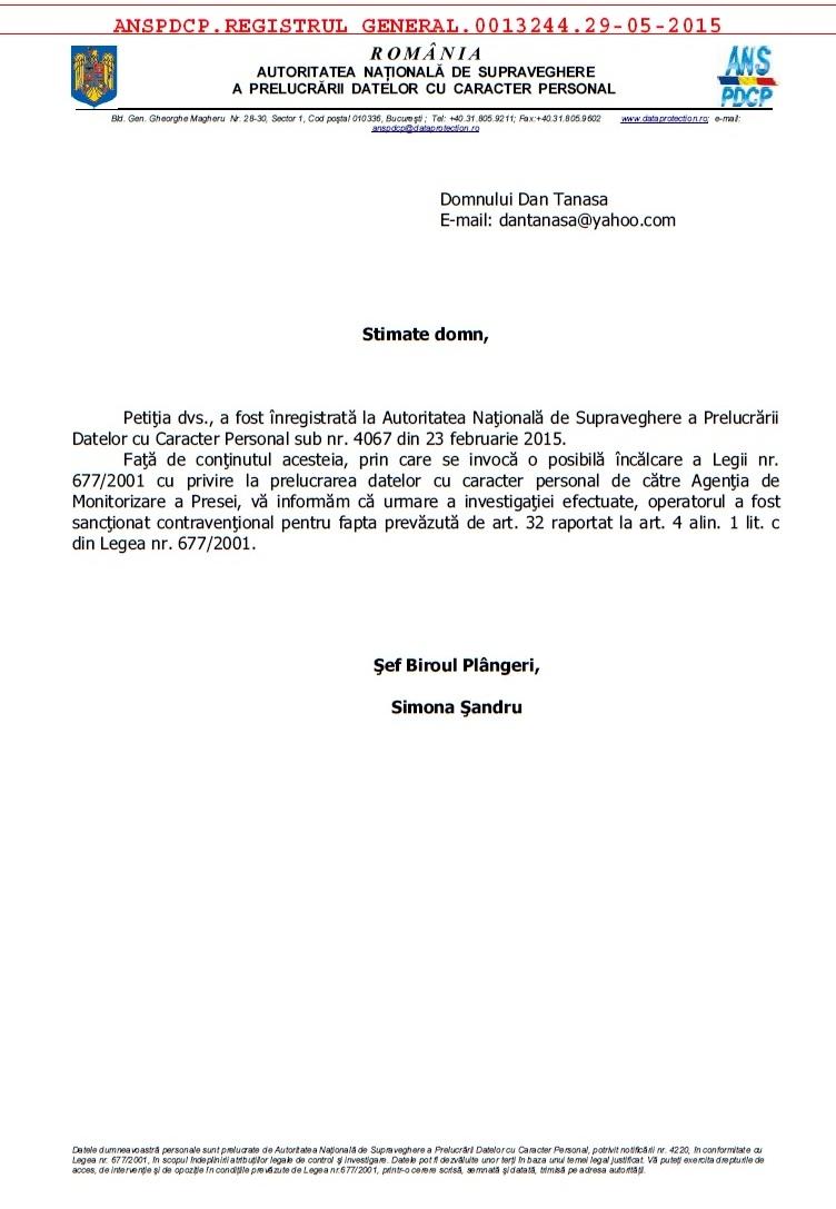 Autoritatea Nationala de Supraveghere a Prelucrarii Datelor cu Caracter Personal sanctiune Mircea Toma ActiveWatch - Agenția de Monitorizare a Presei Dan Tanasa