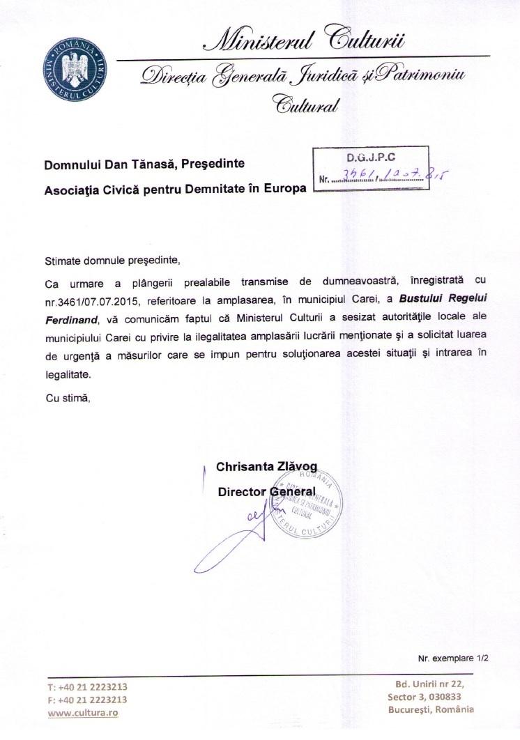Ministerul Culturii bust Rege Ferdinand Carei ADEC