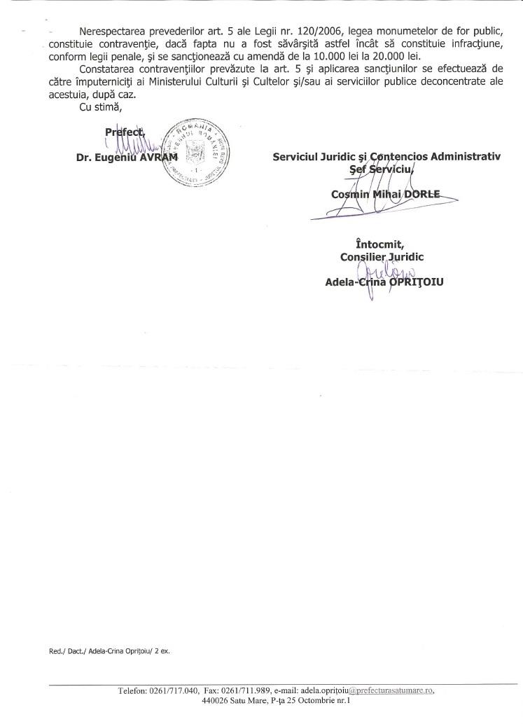 Prefect Satu Mare Eugeniu Avram bust Ferdinand Carei ADEC 2