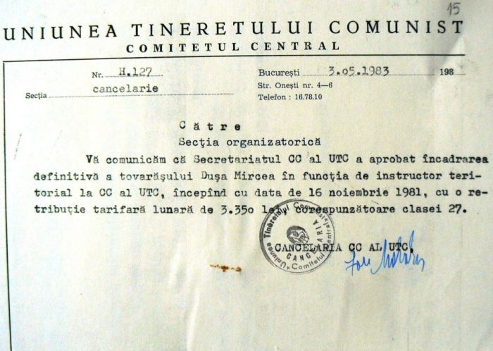 Starting November 16, 1981 Dusa was promoted as territorial instructor of the Central Committee of Communist Youth Union receiving a salary of 3,350 lei as a member of the communist nomenklatura (Photo: Romania Liberă)
