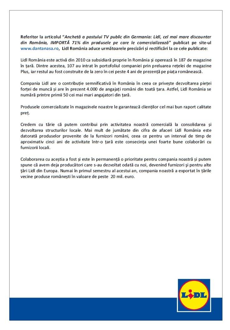reactie Lidl Romania ancheta dantanasa.ro Das Erste