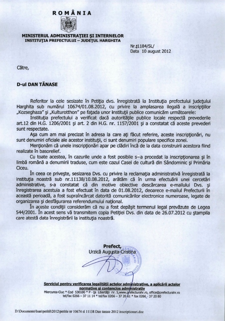 prefect harghita urzica augusta cristina inscriptie lb maghiara ciceu
