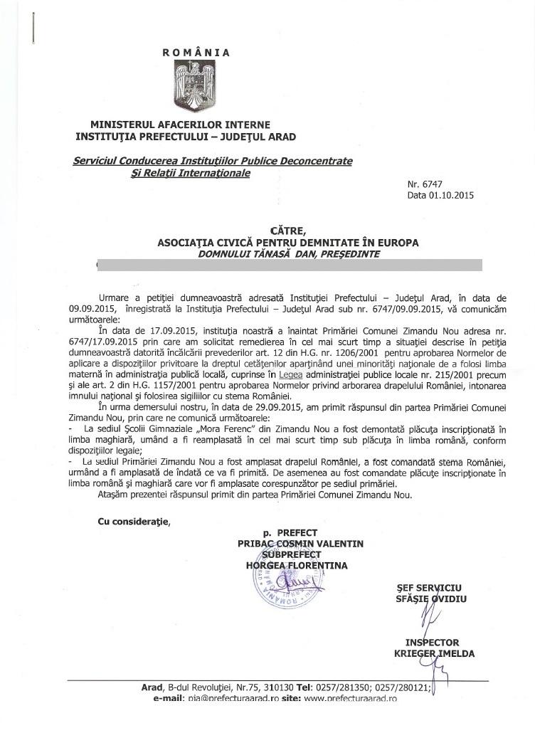 prefectura arad primaria Zimandu Nou drapel Romania stema Romania Dan Tanasa
