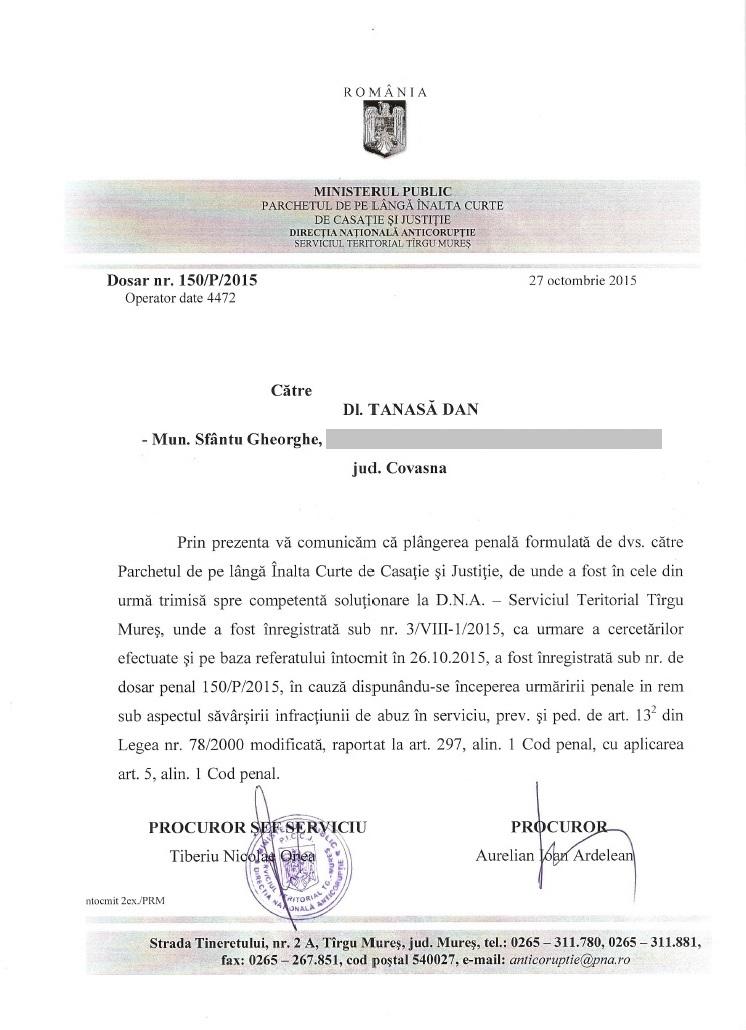 DNA Targu Mures urmarire penala retrocedare Colegiul Unirea