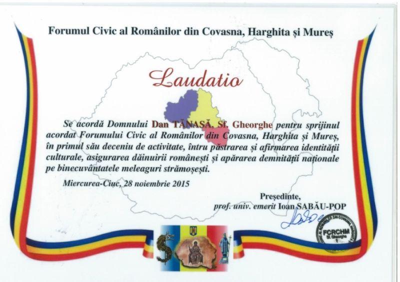 diploma dan tanasa forumul civic al romanilor din covasna harghita si mures noiembrie 2015