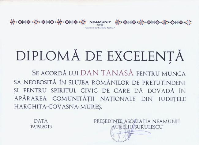 diploma excelenta dan tanasa asociatia neamunit decembrie 2015