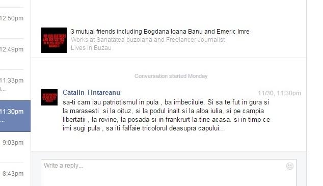 mesaj dement Catalin Tintareanu