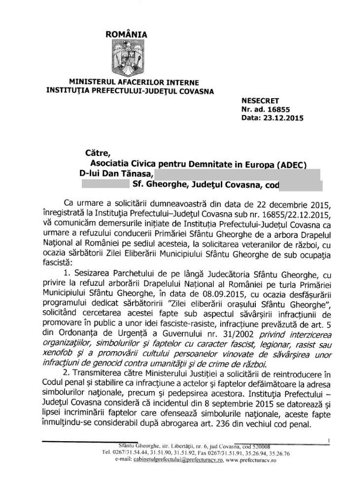 raspuns prefect covasna incident drapelul romaniei sfantu gheorghe 8 septembrie 2015