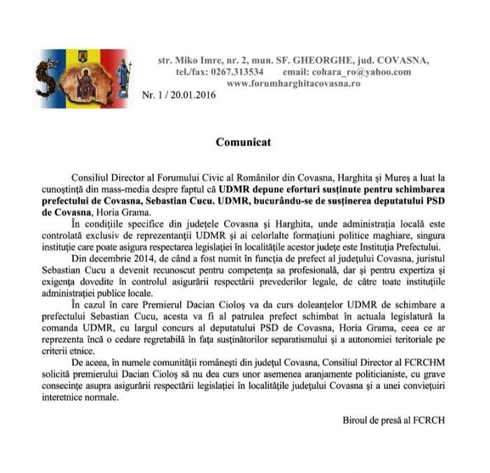 comunicat forum schimbare prefect covasna UDMR