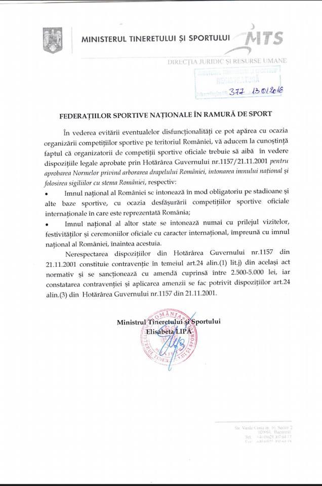 ministerul tineretului si sportului circulara imnul national ianuarie 2016