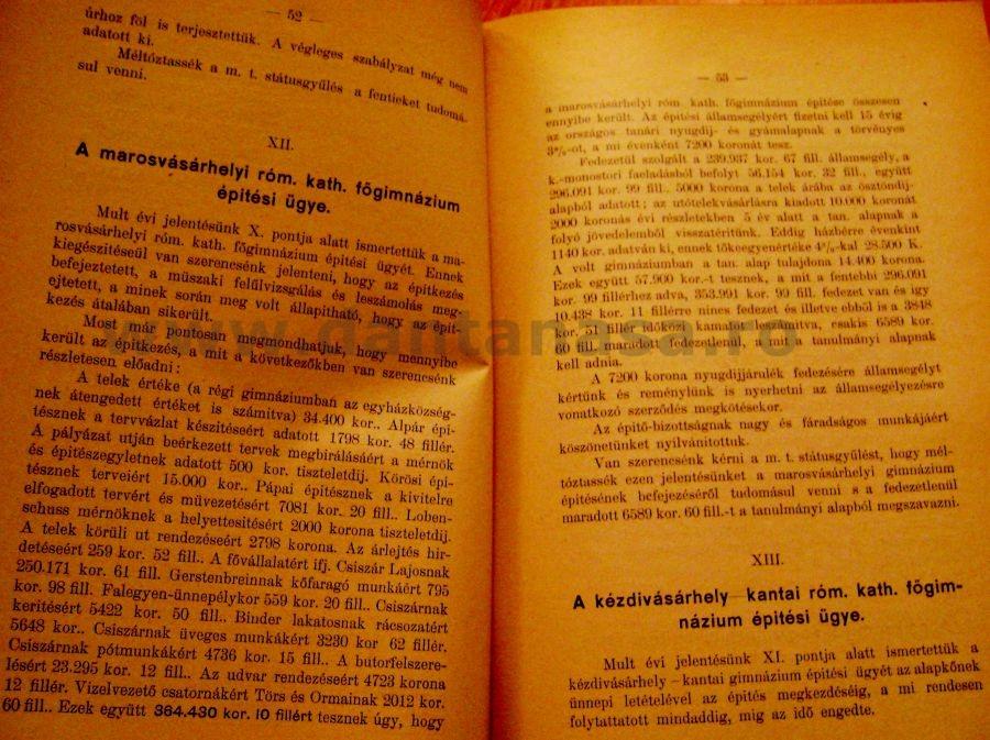 Raportul anual al consiliului director al Statusului romano-catolic ardelean din 15 noiembrie 1906 Cluj. 1906