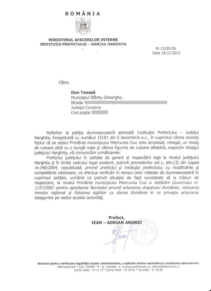 adresa prefect harghita andrei steag local primaria miercurea ciuc decembrie 2013
