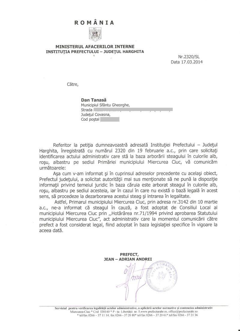 adresa prefect harghita andrei steag local primaria miercurea ciuc martie 2014