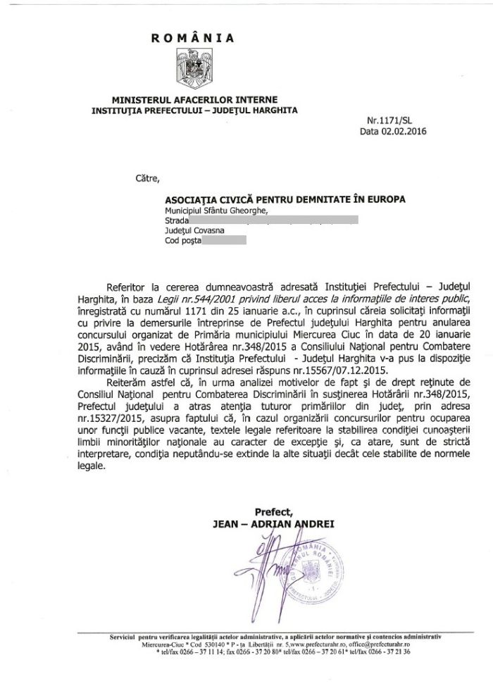 adresa prefect harghita jean adrian andrei anulare concurs primaria m ciuc februarie 2016