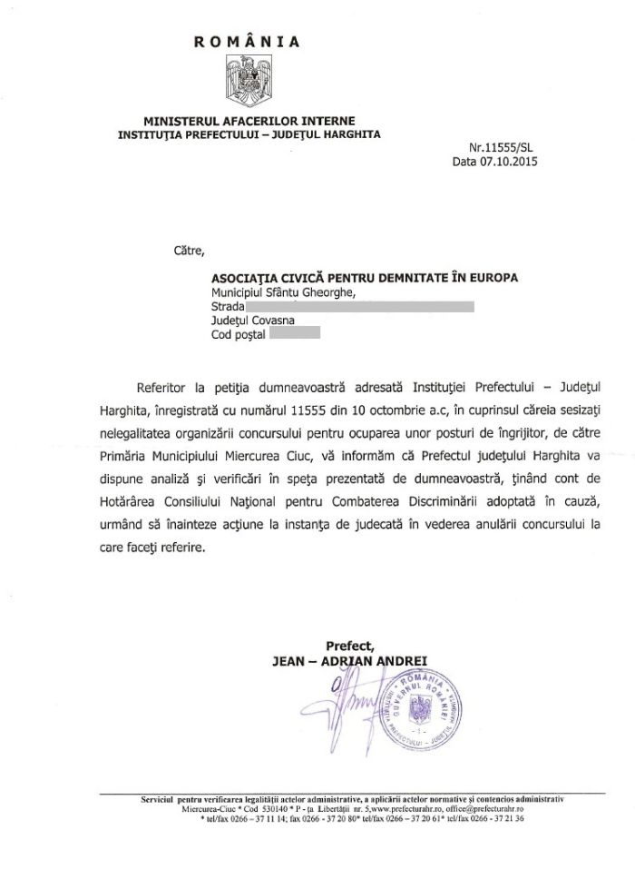 adresa prefect harghita jean adrian andrei anulare concurs primaria m ciuc octombrie 2015