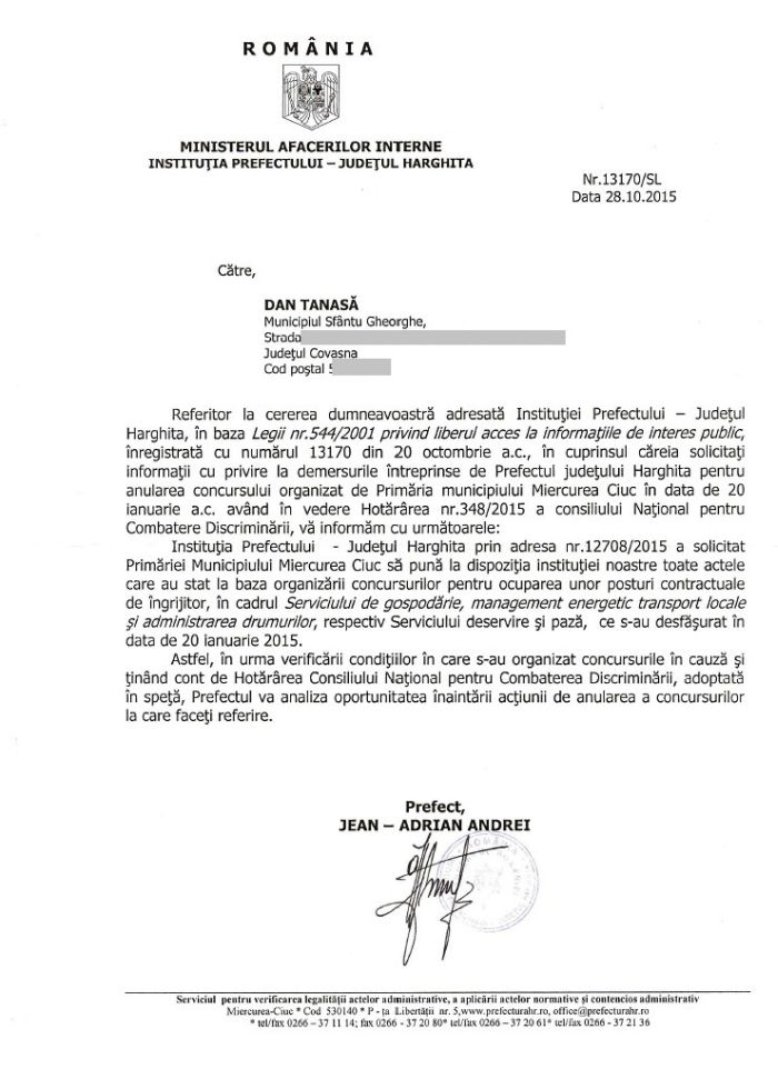 adresa prefect harghita jean adrian andrei anulare concurs primaria m ciuc sfarsit octombrie 2015