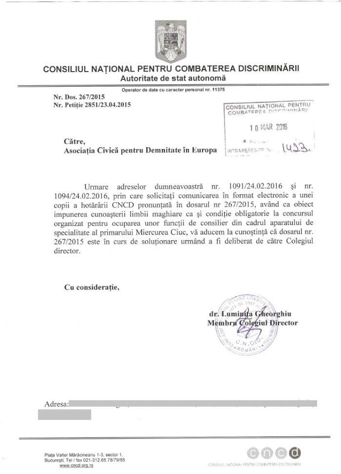 CNCD dosar 267 2015 lipsa hotarare dupa un an Csaba Asztalos Ferenc