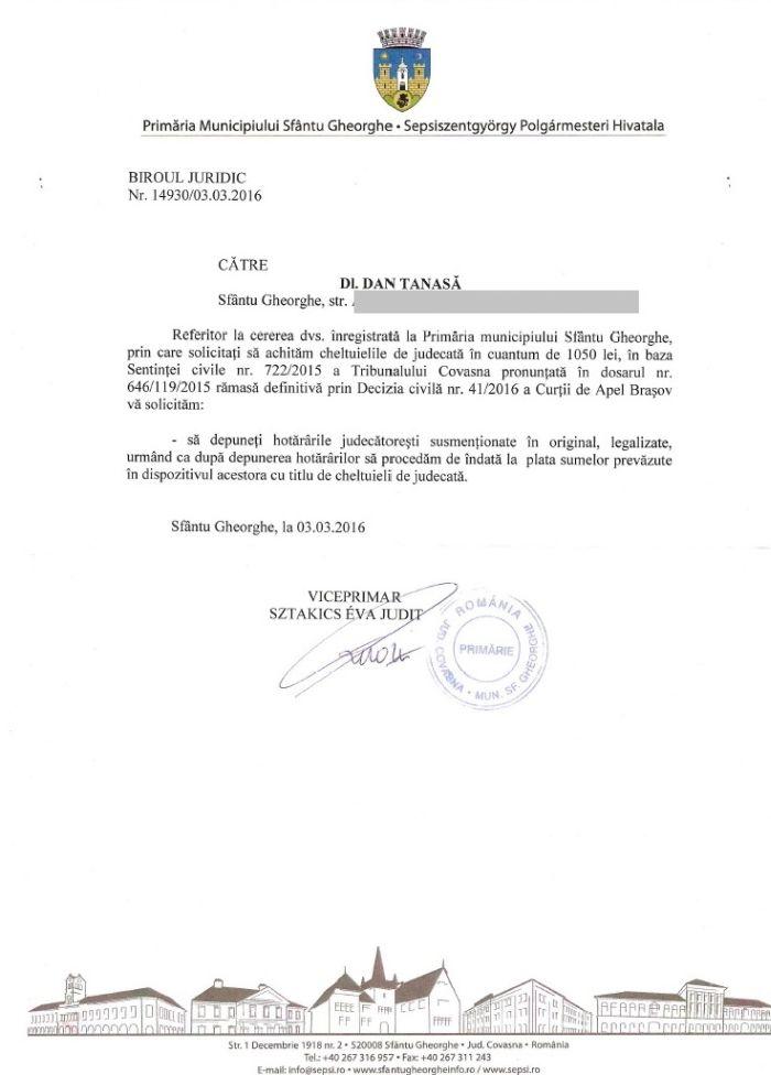 primaria sfantu gheorghe UDMR cheltuieli judecata dan tanasa
