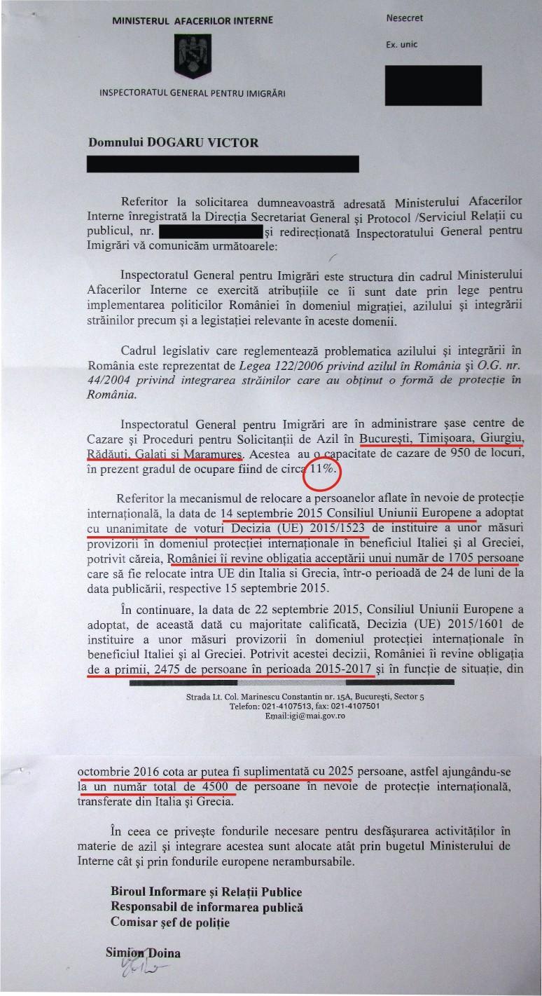 Inspectoratul General pentru Imigrari refugiati Romania 2016 2017