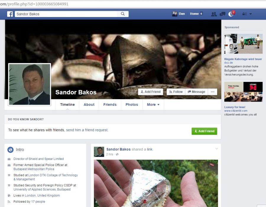 Sandor Bakos Facebook politist Budapesta