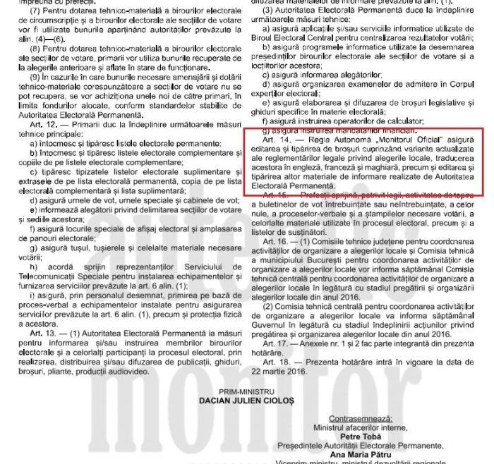 monitorul oficial legislatie alegeri locale 2016 limba maghiara