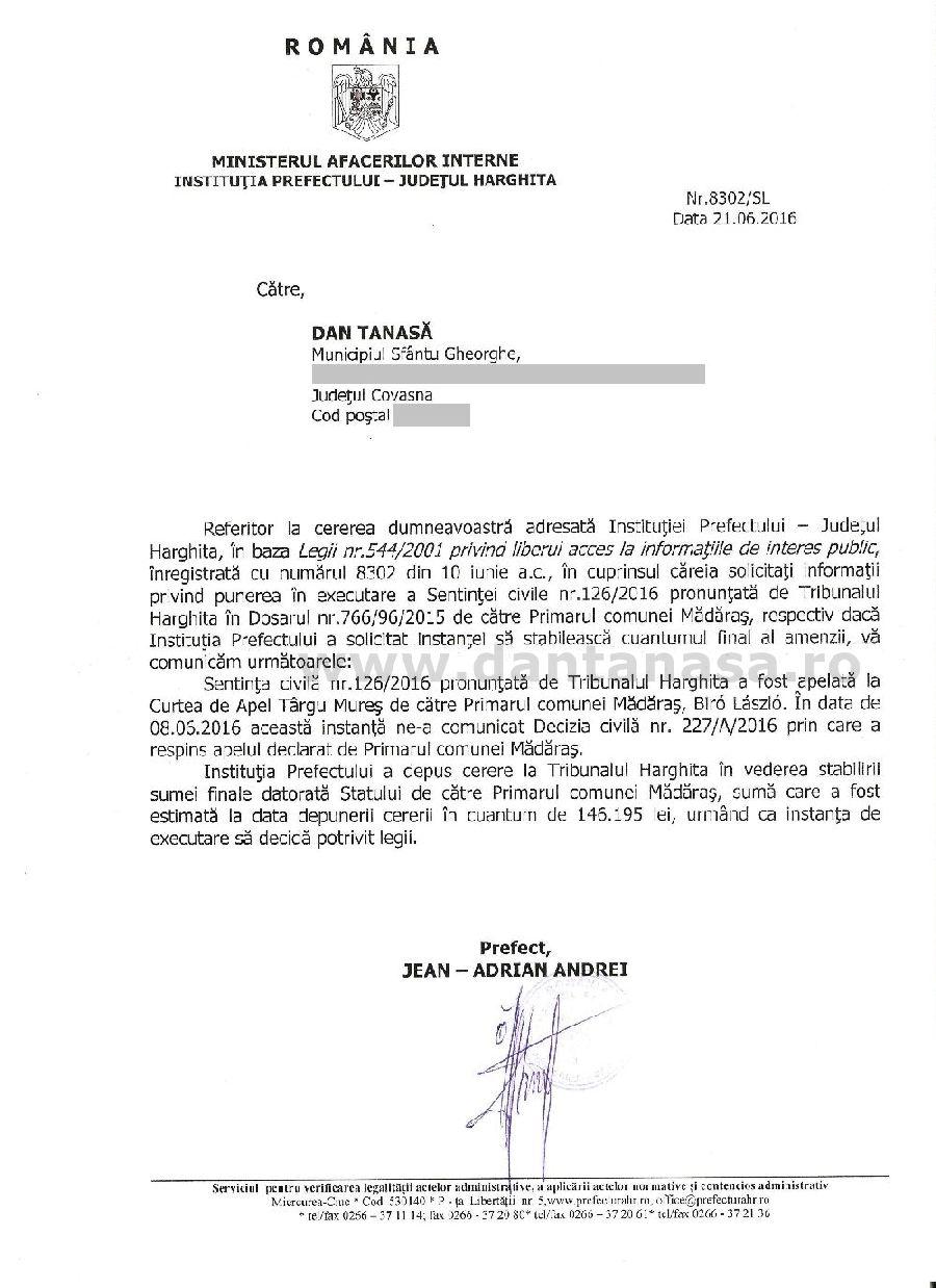 prefect harghita executare amenda primar UDMR Madaras drapel Ungaria