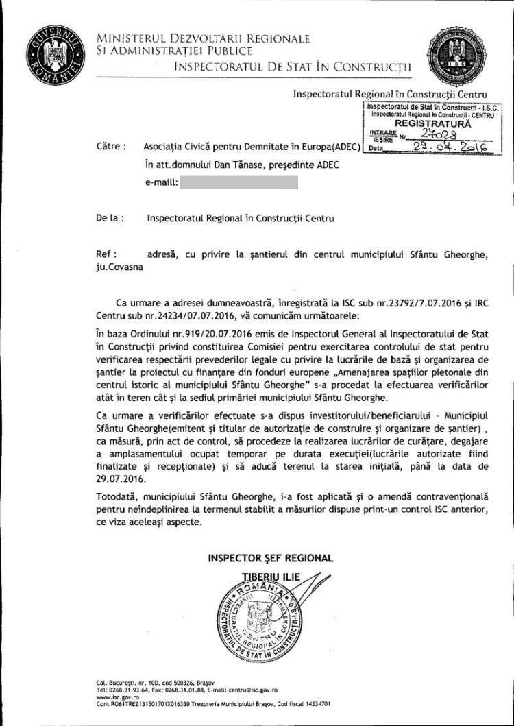 ISC amenda Antal Arpad moloz Prefectura Covasna iulie 2016