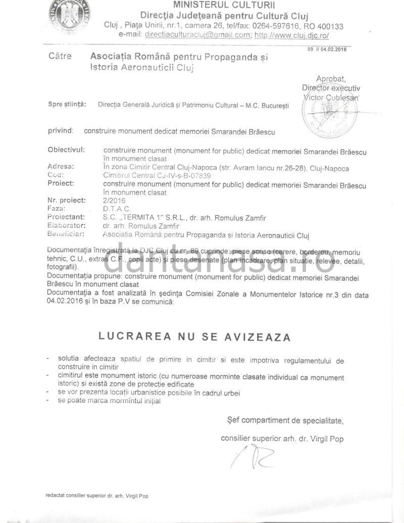 Ministerul Culturii aviz negativ monument Smaranda Braescu februarie 2016