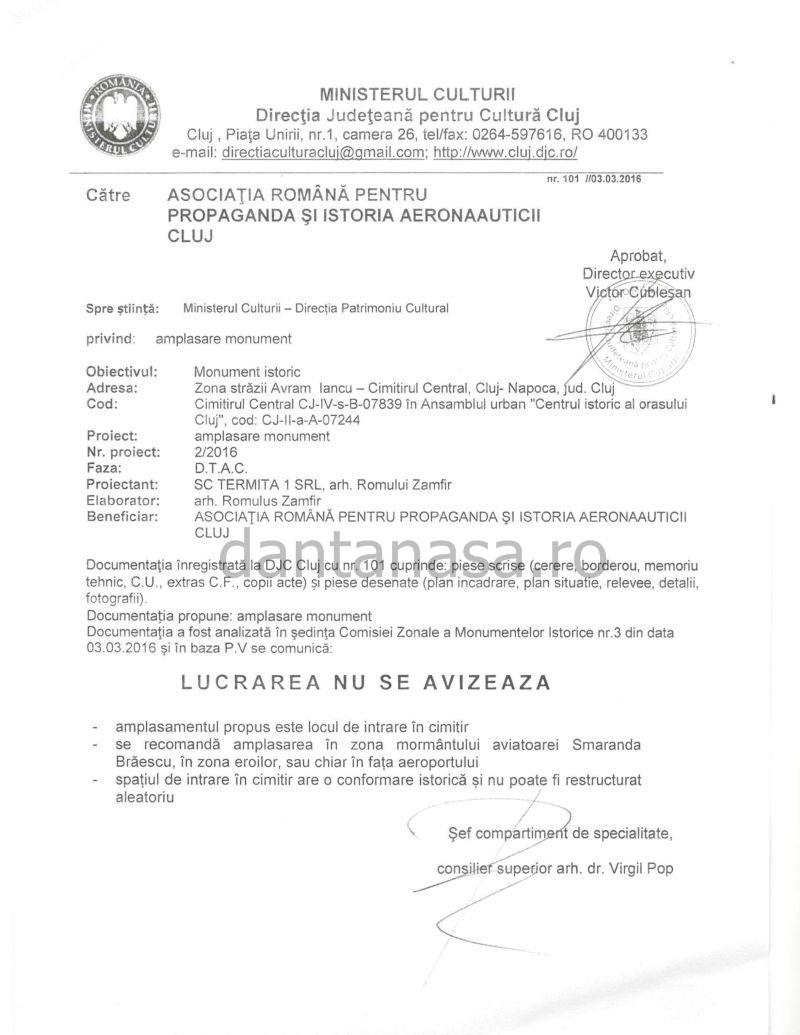 Ministerul Culturii aviz negativ monument Smaranda Braescu martie 2016