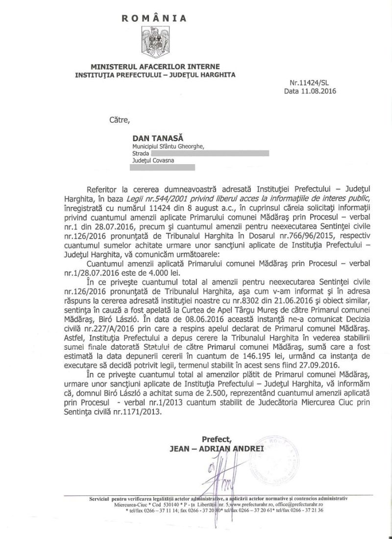 amenda primar UDMR Madaras august 2016
